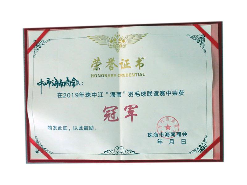 中山市海南商会2019羽毛球冠军